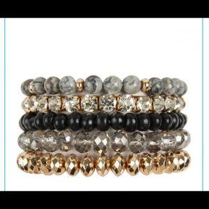Gold and black bracelet set